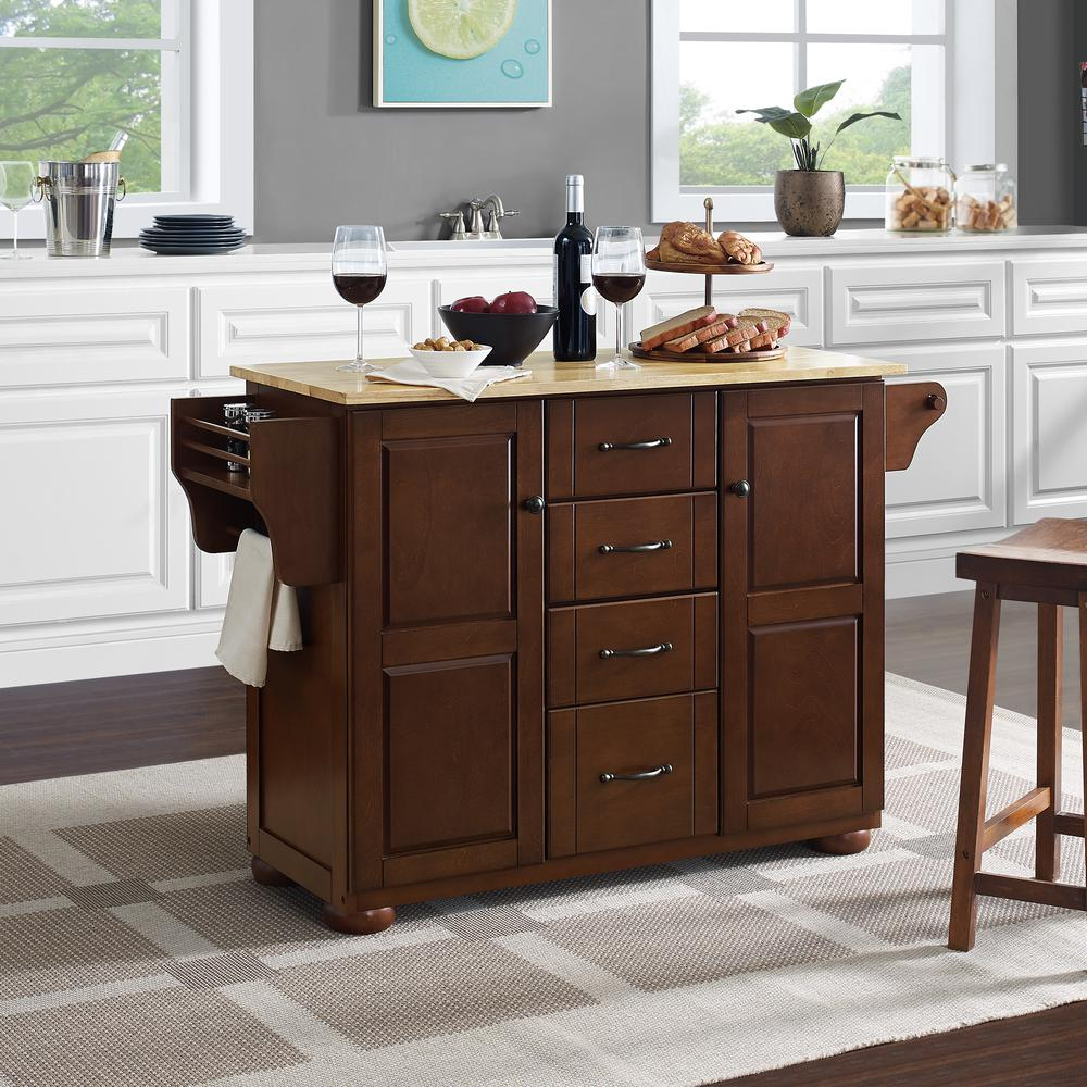 Eleanor Wood Top Kitchen Cart Mahogany/Natural. Picture 6