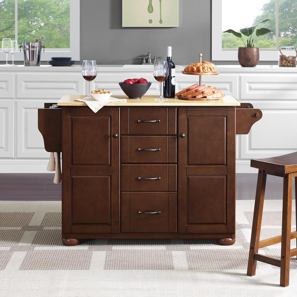 Eleanor Wood Top Kitchen Cart Mahogany/Natural. Picture 7