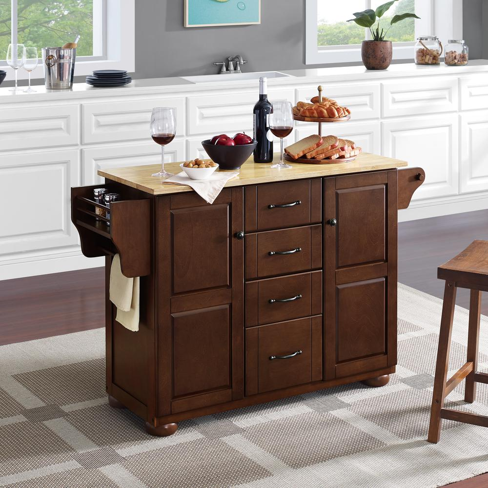 Eleanor Wood Top Kitchen Cart Mahogany/Natural. Picture 8