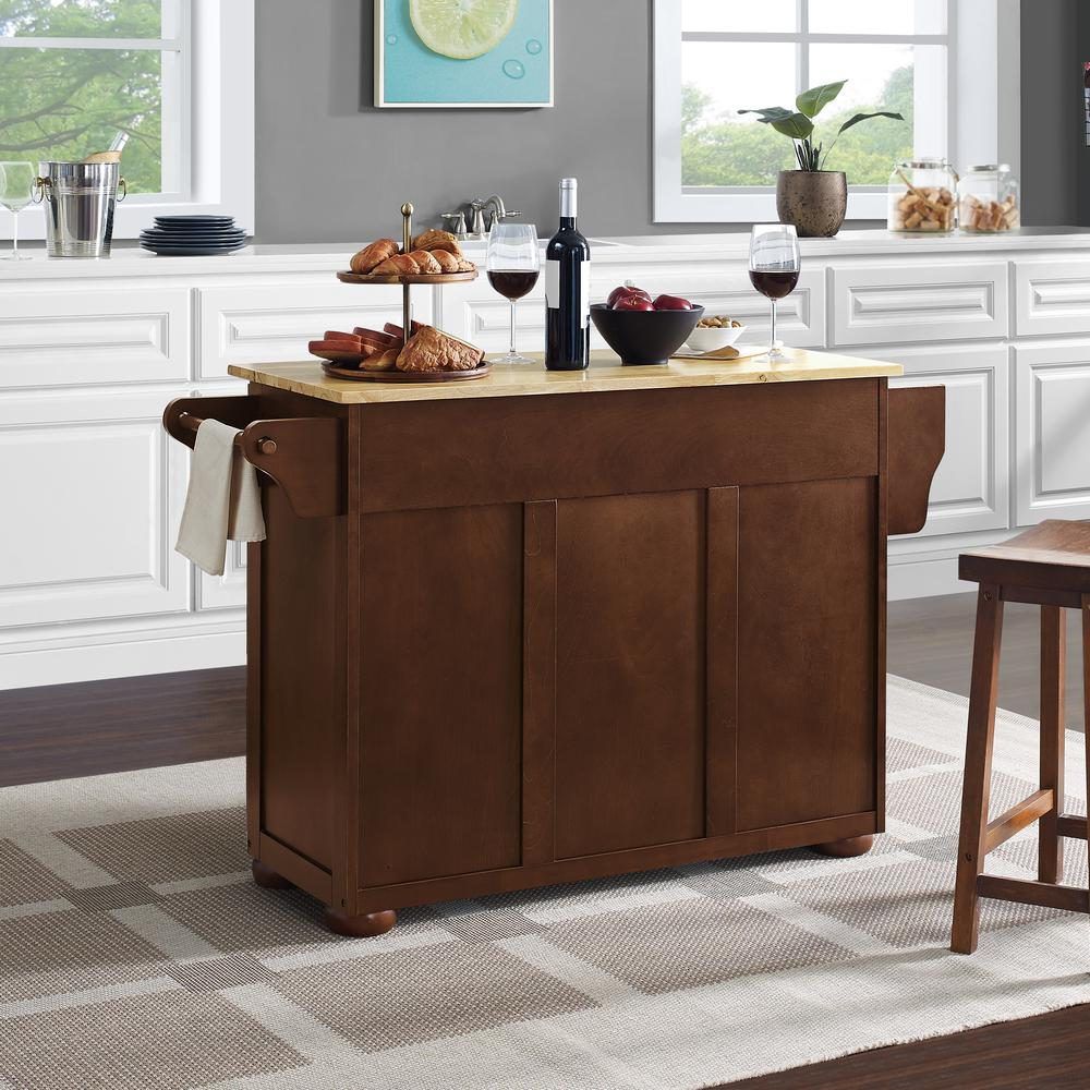 Eleanor Wood Top Kitchen Cart Mahogany/Natural. Picture 9