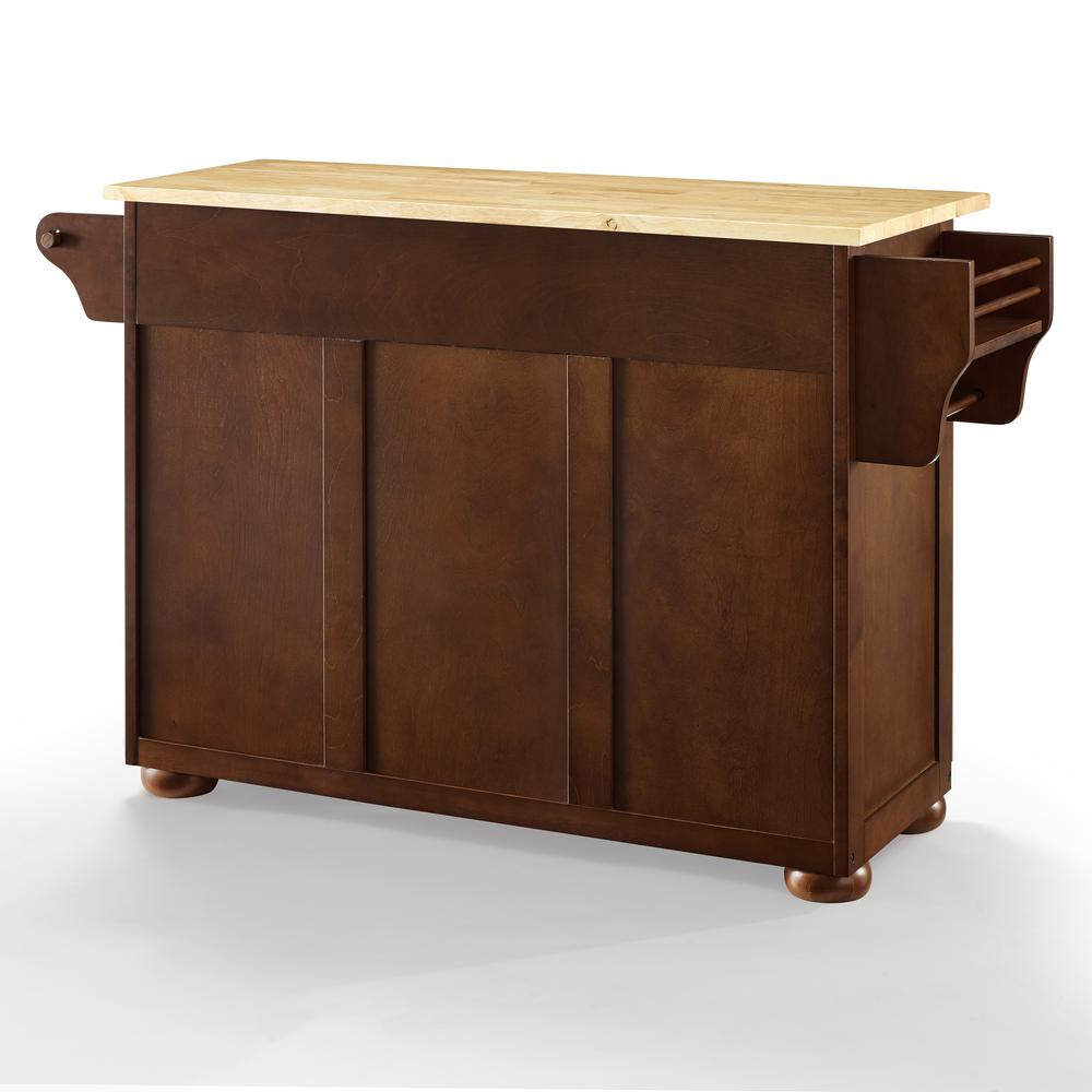 Eleanor Wood Top Kitchen Cart Mahogany/Natural. Picture 23