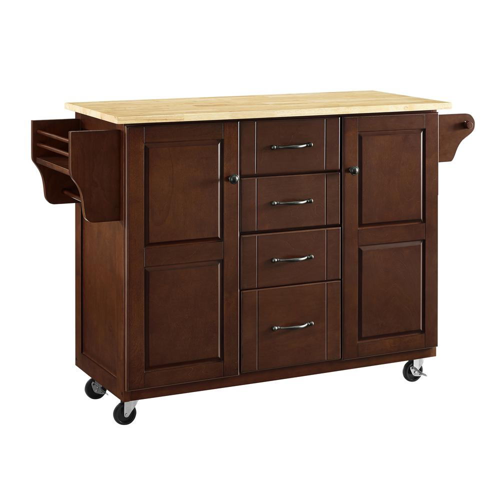 Eleanor Wood Top Kitchen Cart Mahogany/Natural. Picture 30