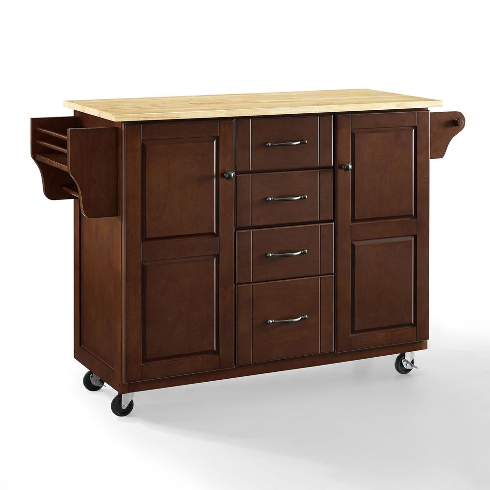Eleanor Wood Top Kitchen Cart Mahogany/Natural. Picture 1