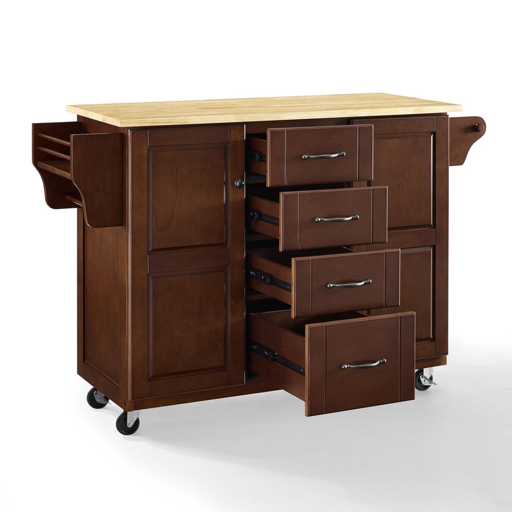 Eleanor Wood Top Kitchen Cart Mahogany/Natural. Picture 37