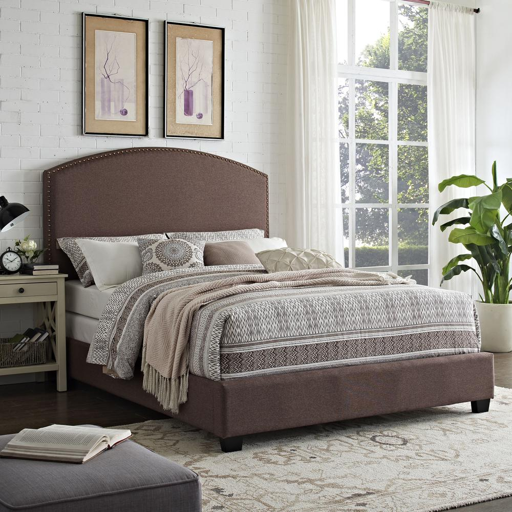 Cassie Upholstered Queen Bed Bourbon - Headboard, Footboard, Rails. Picture 2