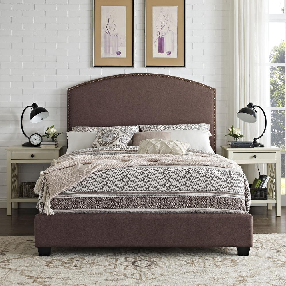 Cassie Upholstered Queen Bed Bourbon - Headboard, Footboard, Rails. Picture 3