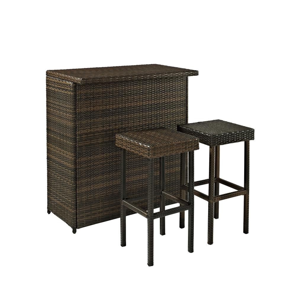 Palm Harbor 3 Piece Outdoor Wicker Bar Set Bar Amp Two Stools
