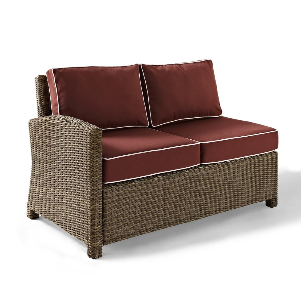 Bradenton outdoor wicker sectional left corner loveseat with sangria cushions Loveseat cushions for outdoor furniture