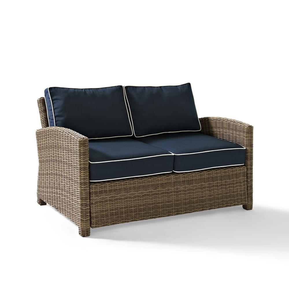 Bradenton Outdoor Wicker Loveseat With Navy Cushions