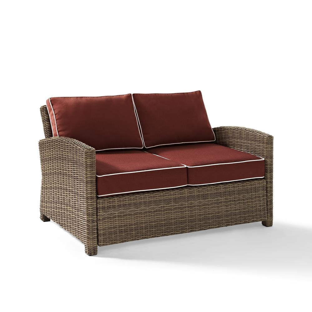 Bradenton outdoor wicker loveseat with sangria cushions Loveseat cushions outdoor