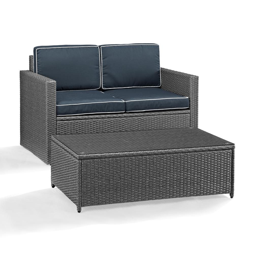 Palm Harbor 2 Piece Outdoor Wicker Seating Set In Grey