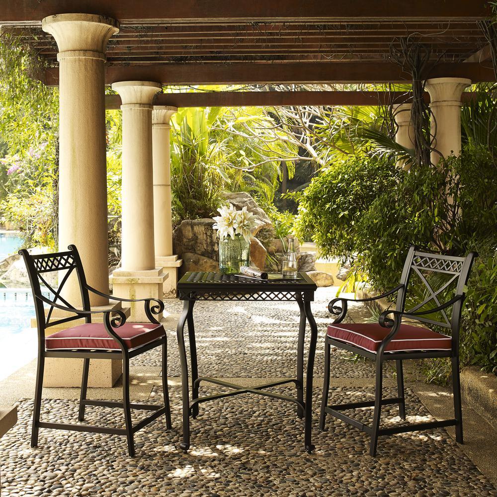 Portofino Cast Aluminum 3 Piece Bar Height Bistro Set with Sangria Cushions