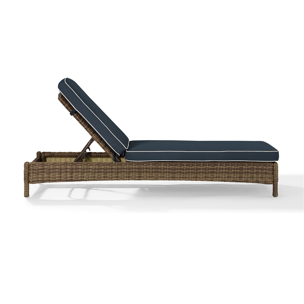 Bradenton chaise lounge with navy cushions for Best chaise lounge cushions