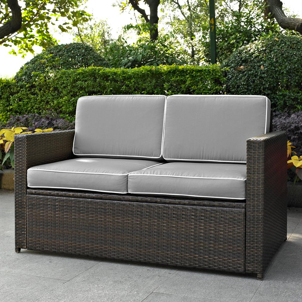 Patio Furniture Loveseat Cushions: Palm Harbor Outdoor Wicker Loveseat In Brown With Grey