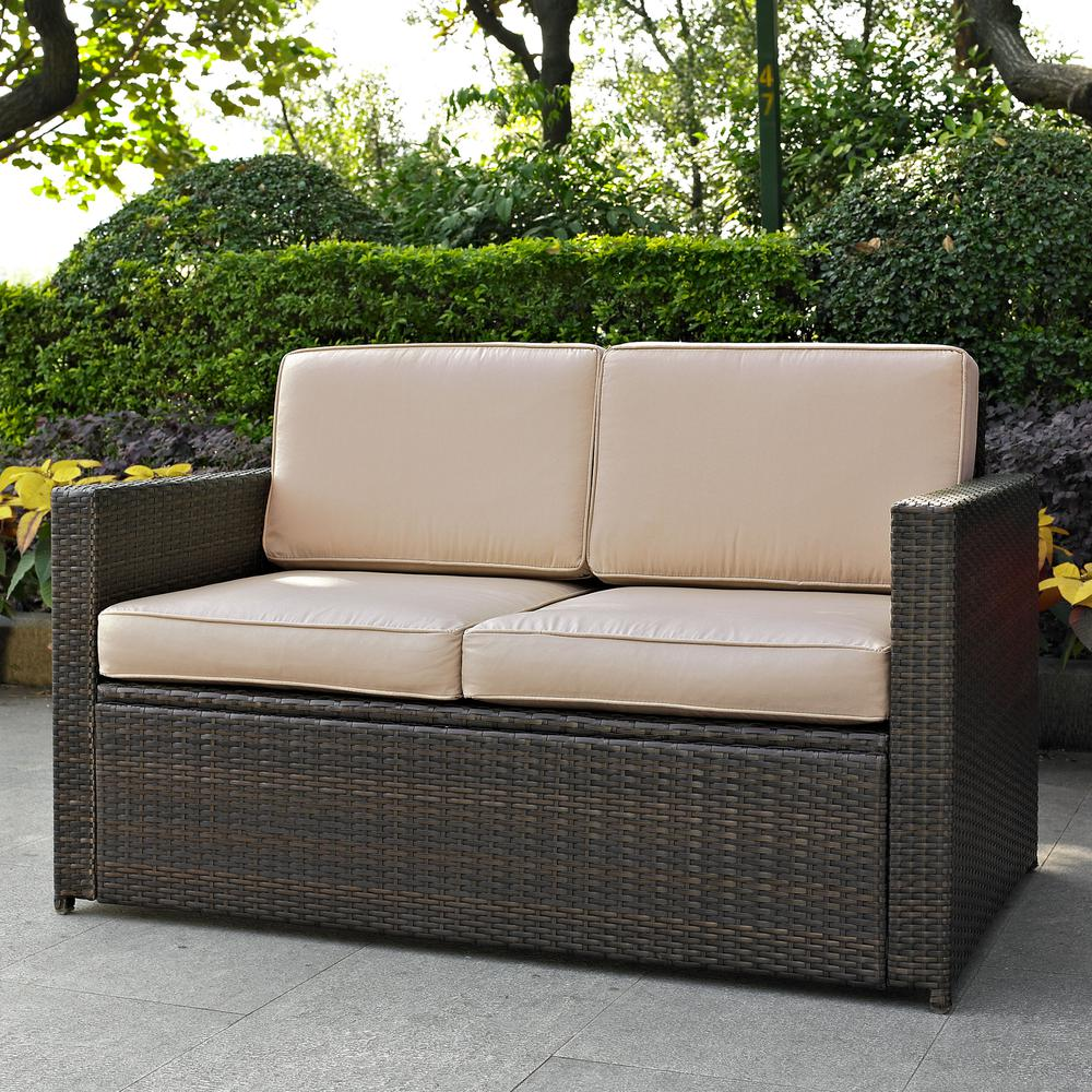 Patio Furniture Loveseat Cushions: Palm Harbor Outdoor Wicker Loveseat In Brown With Sand