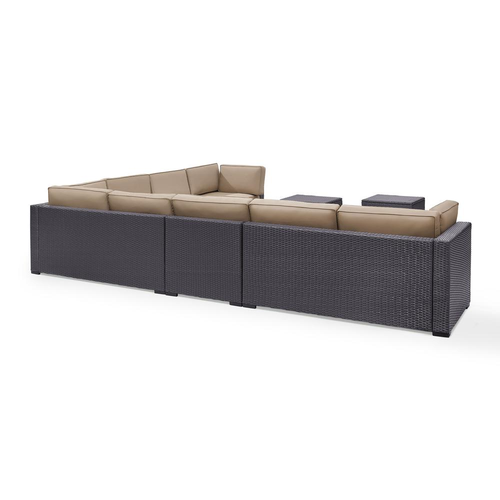 Biscayne 7pc Outdoor Wicker Sectional Set Mocha Brown 3
