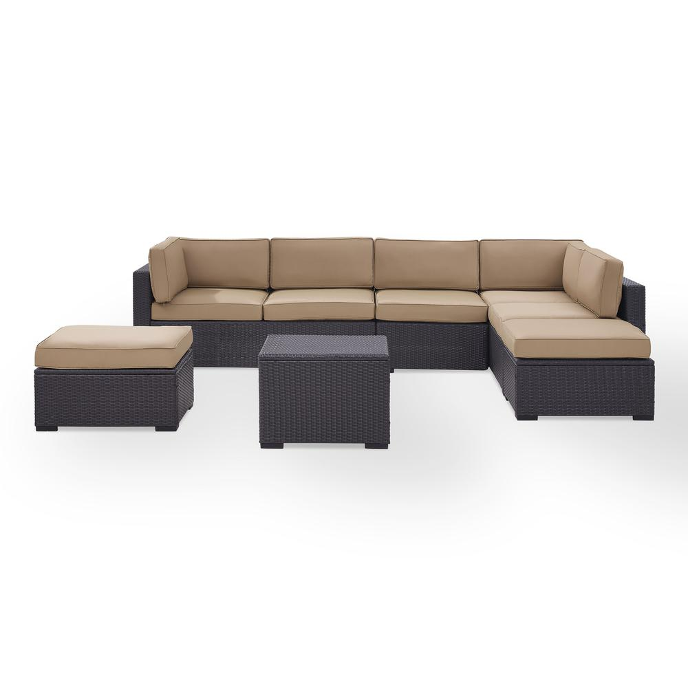 Biscayne 6pc Outdoor Wicker Sectional Set Mocha Brown 2