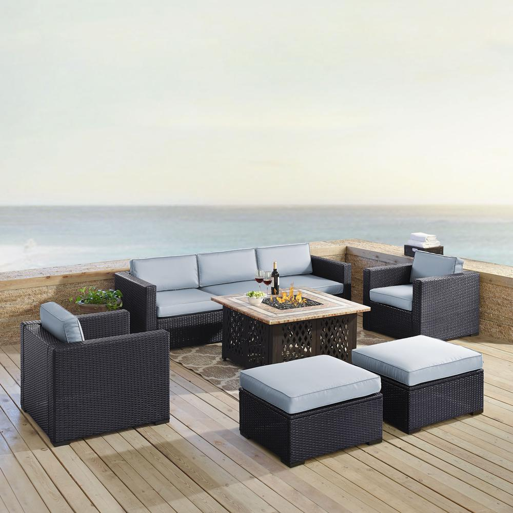 Biscayne 7pc Outdoor Wicker Sectional Set W Fire Table