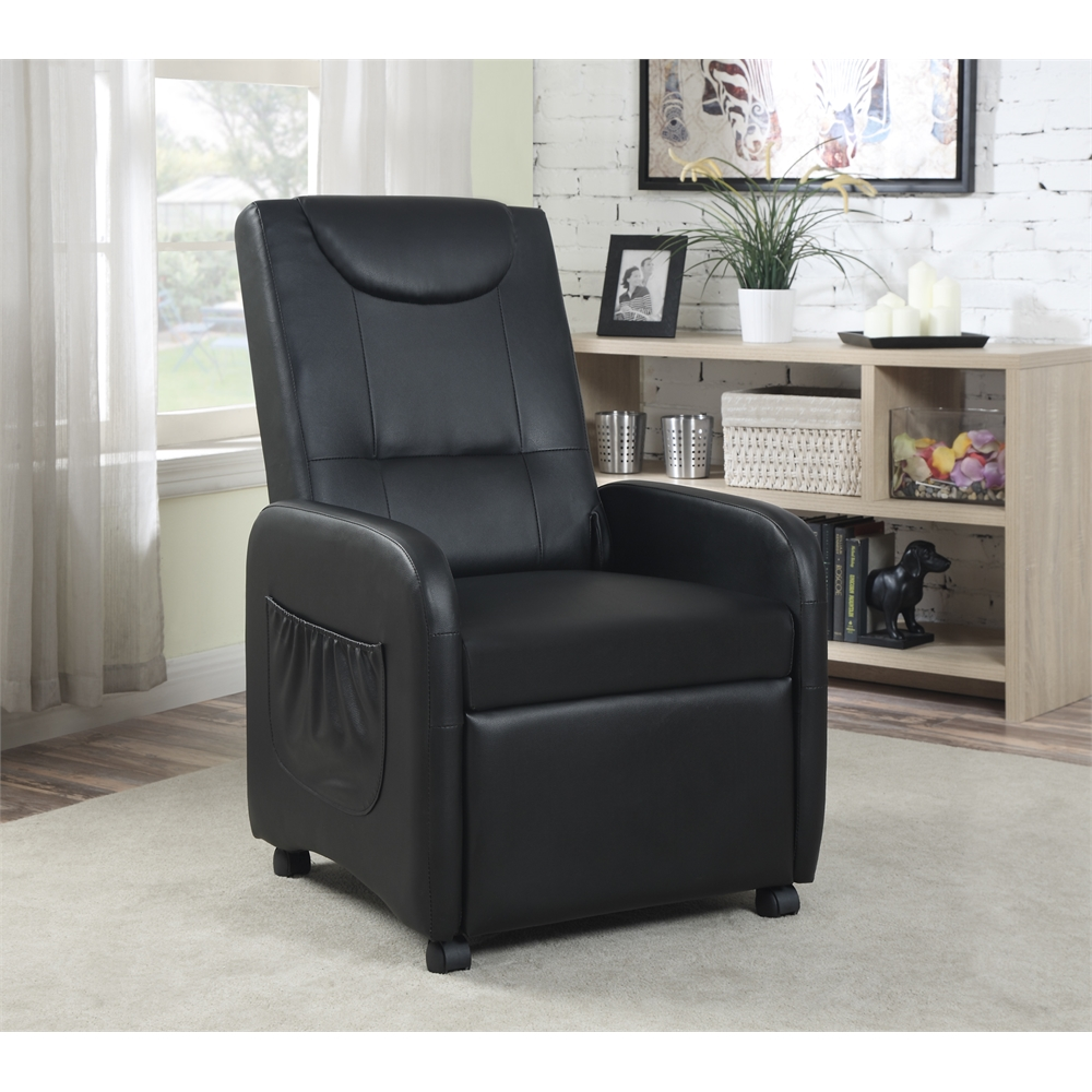 Single Recliner With Wheels Black H37 40 Quot