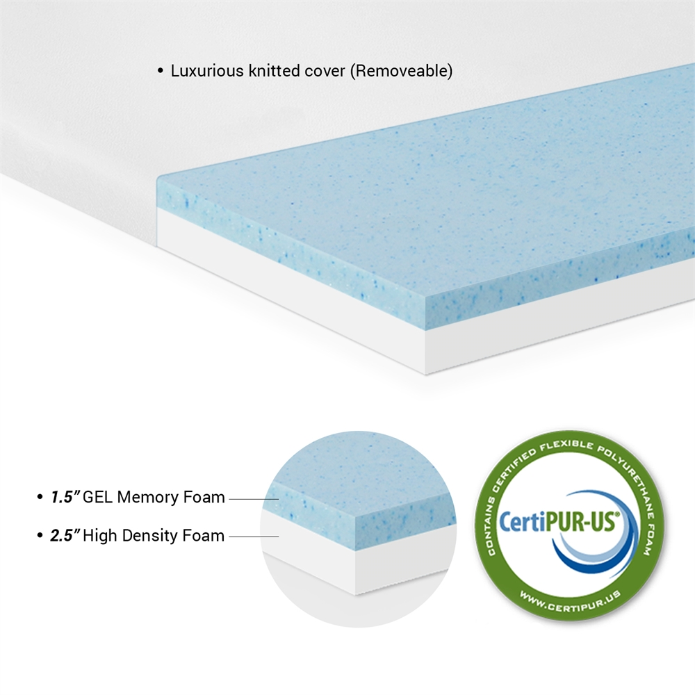 Angeland 4-Inch Gel Infused Memory Foam Mattress Topper, Queen,. Picture 2