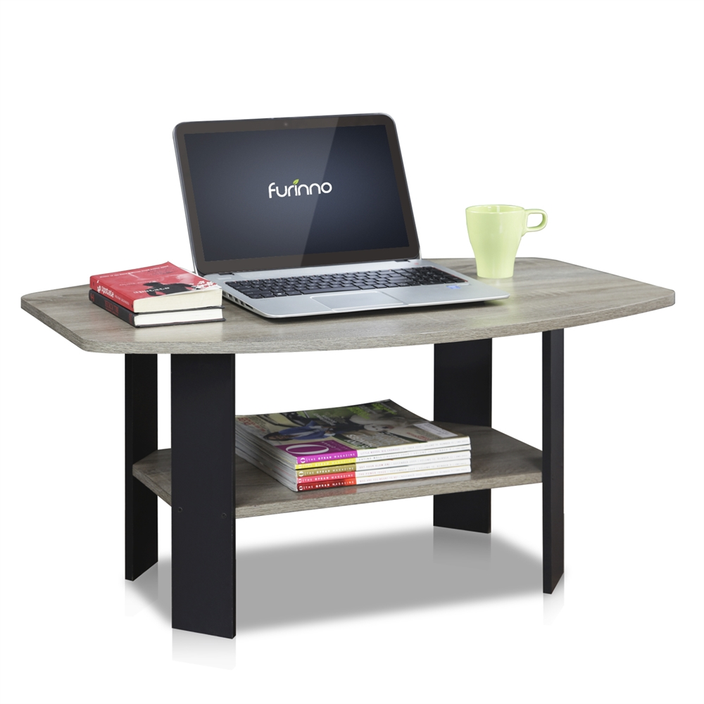 Simple Design Coffee Table, Oak Grey/Black. Picture 3