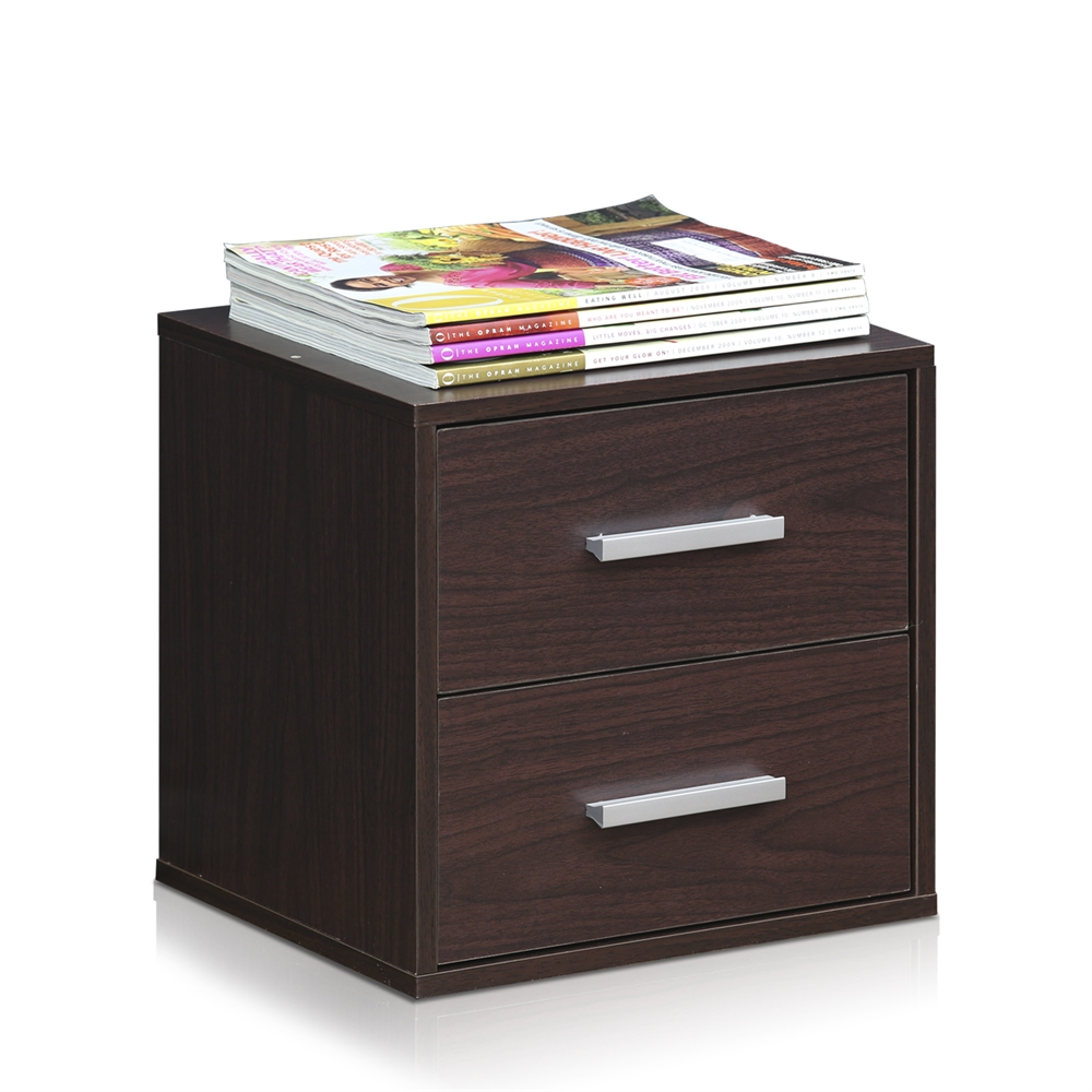 Indo  Petite Stackable 2-Drawers Storage Cube, Espresso. Picture 3