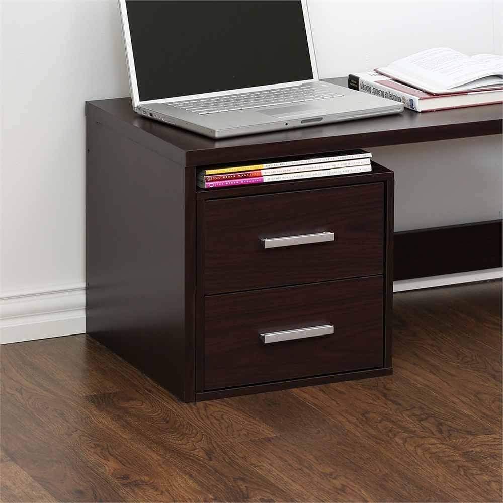 Indo  Petite Stackable 2-Drawers Storage Cube, Espresso. Picture 4