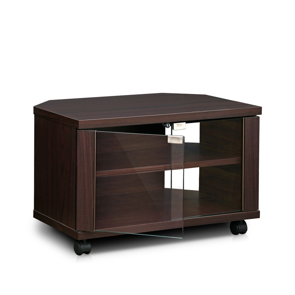 indo 3 tier petite tv stand with double glass doors and casters espresso. Black Bedroom Furniture Sets. Home Design Ideas