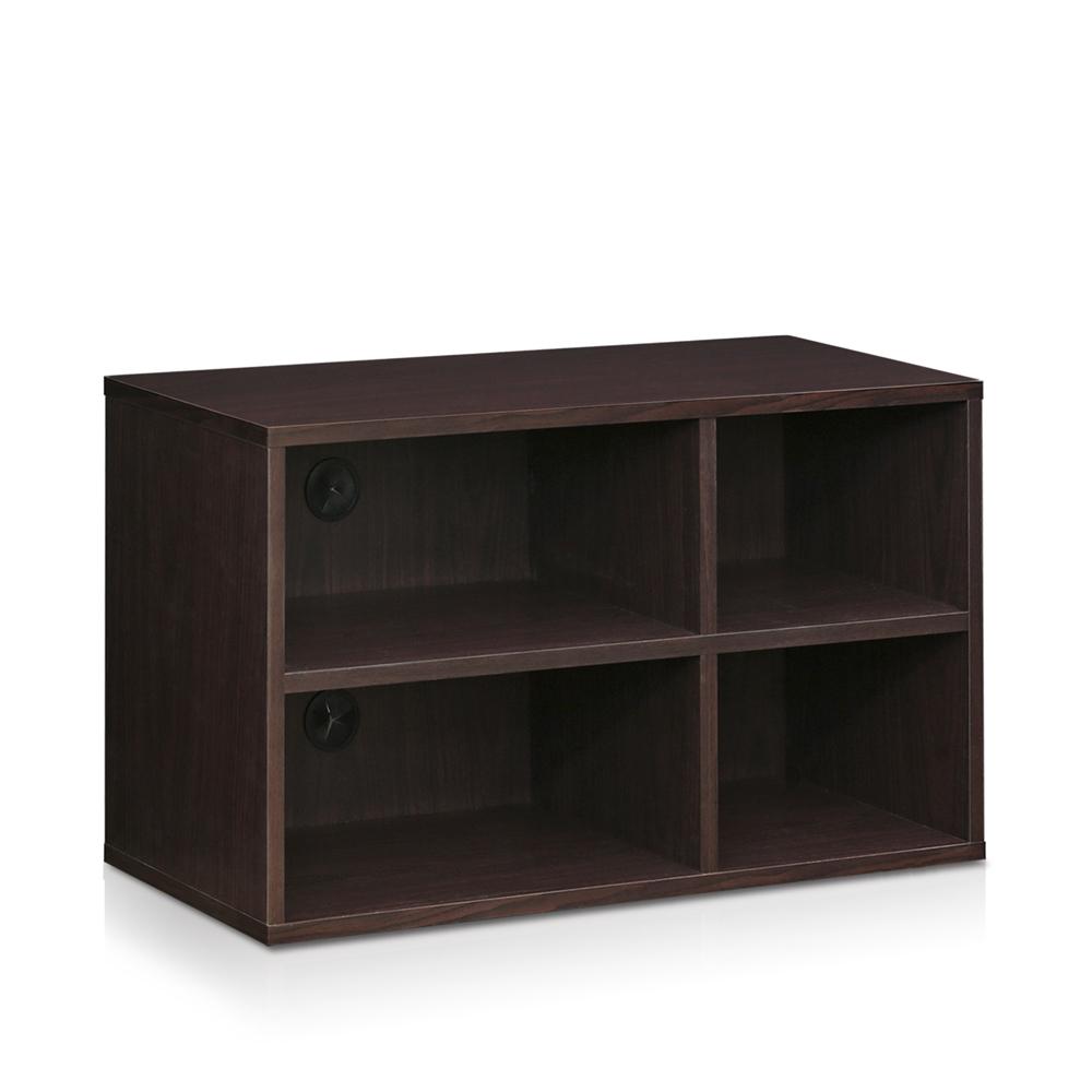 Indo  2x2 Petite Audio Video Storage Shelf, Espresso. Picture 1
