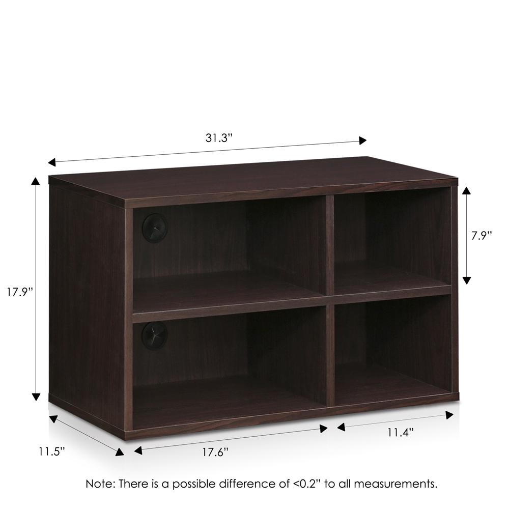 Indo  2x2 Petite Audio Video Storage Shelf, Espresso. Picture 2