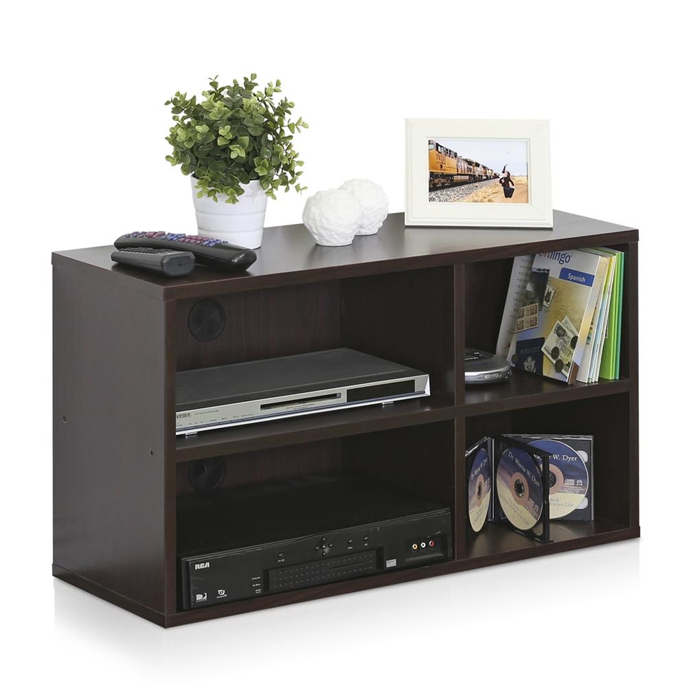 Indo  2x2 Petite Audio Video Storage Shelf, Espresso. Picture 4