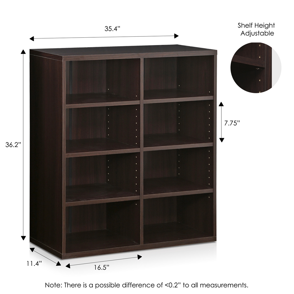 Indo  4x2 Stackable Accessories Storage Shelf, Espresso. Picture 2