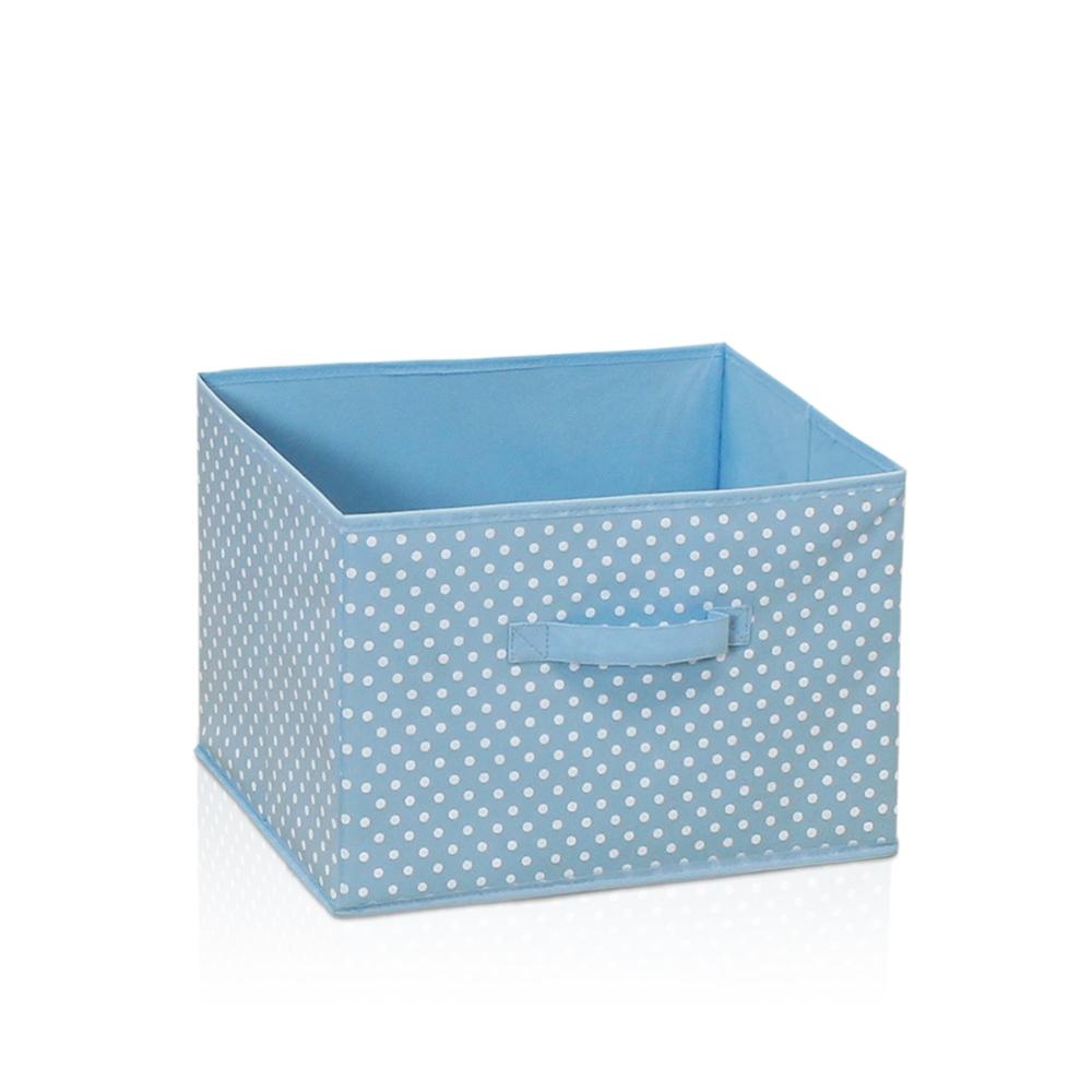 Laci Small Dot Design Non-Woven Fabric Soft Storage Organizer, Blue. Picture 1