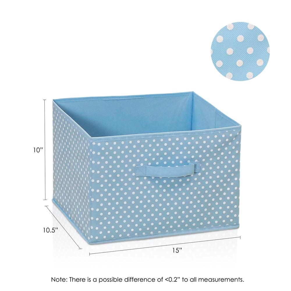 Laci Small Dot Design Non-Woven Fabric Soft Storage Organizer, Blue. Picture 2