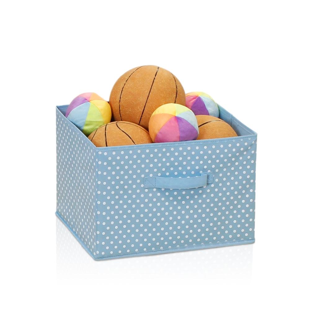 Laci Small Dot Design Non-Woven Fabric Soft Storage Organizer, Blue. Picture 3