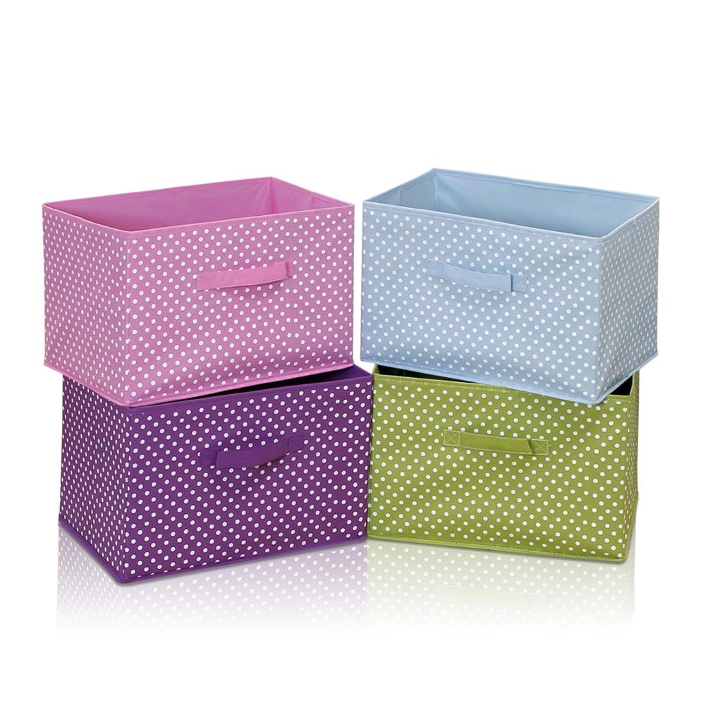 Laci Small Dot Design Non-Woven Fabric Soft Storage Organizer, Blue. Picture 4