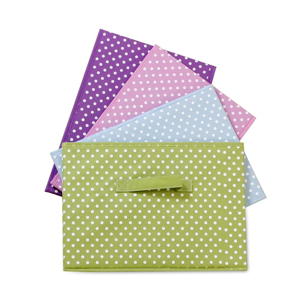 Laci Small Dot Design Non-Woven Fabric Soft Storage Organizer, Blue. Picture 5