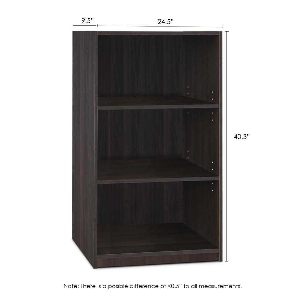 JAYA Simple Home 3-Shelf Bookcase, CC Espresso. Picture 2