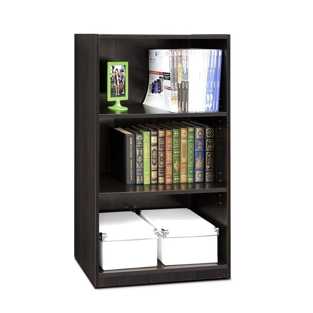 JAYA Simple Home 3-Shelf Bookcase, CC Espresso. Picture 3
