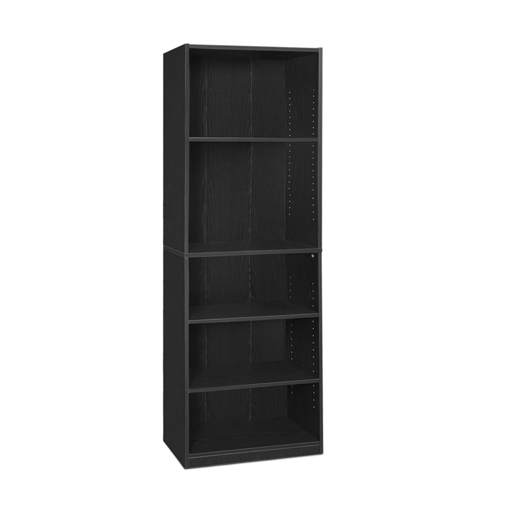 JAYA Simply Home 5-Shelf Bookcase, Black. Picture 1