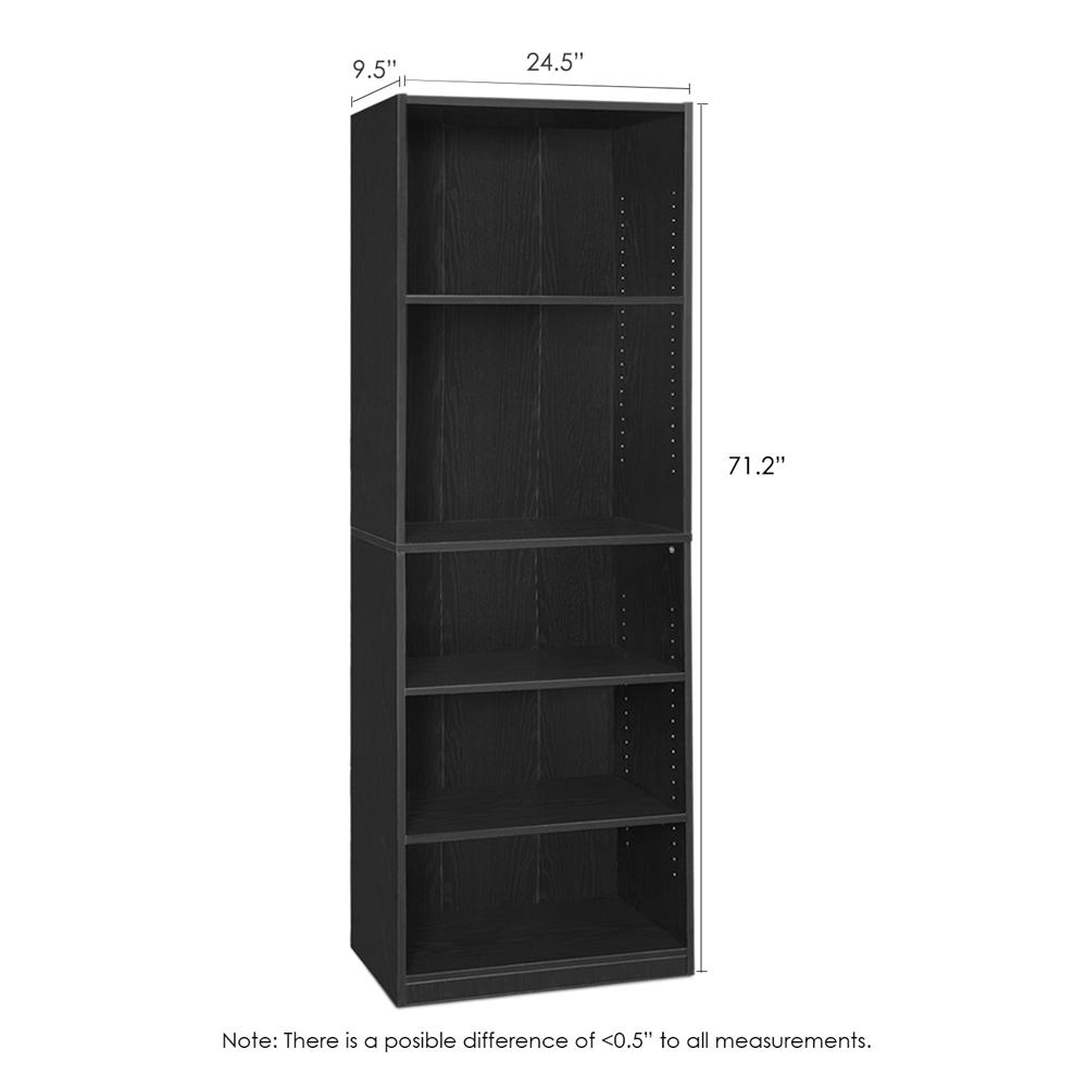 JAYA Simply Home 5-Shelf Bookcase, Black. Picture 2