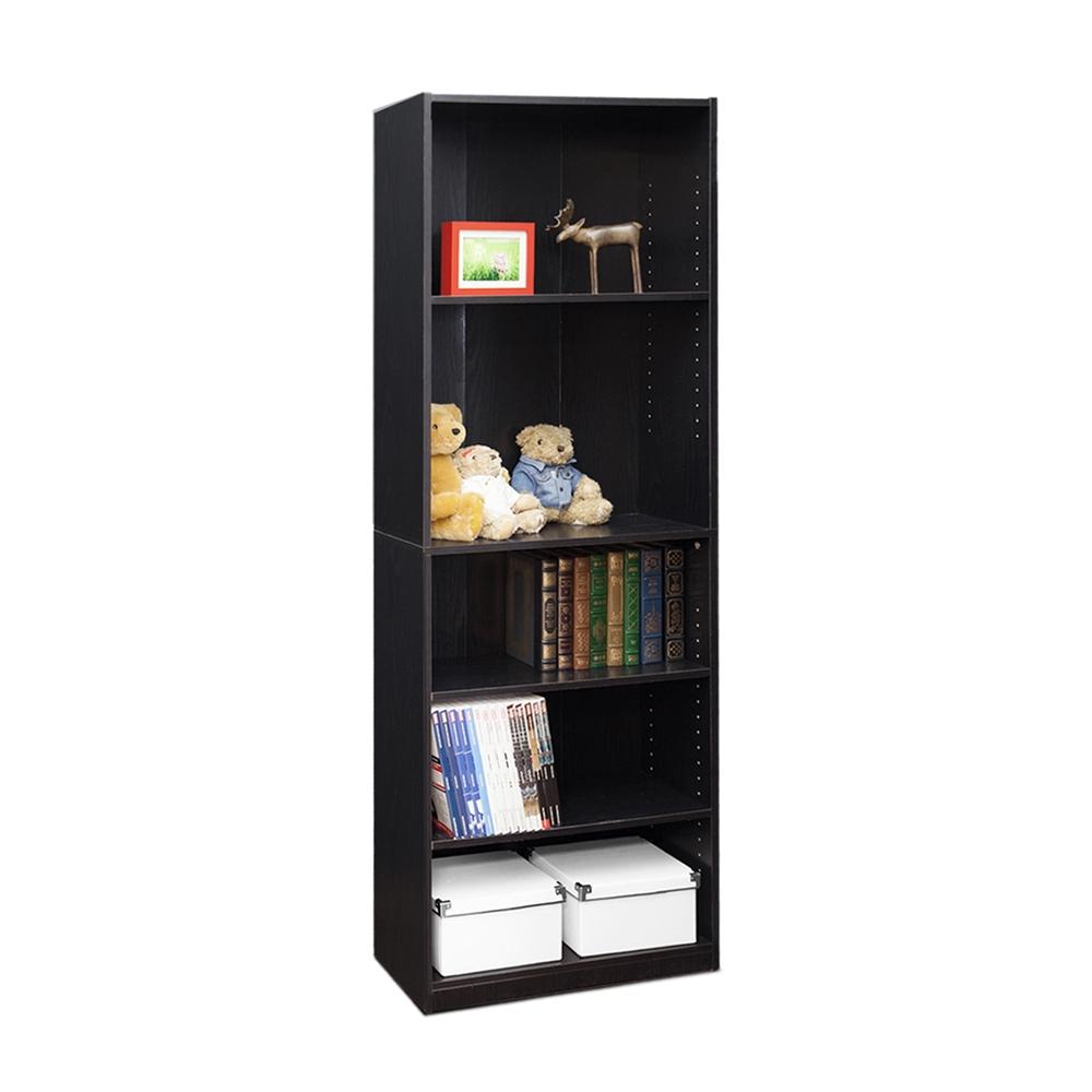 JAYA Simply Home 5-Shelf Bookcase, Black. Picture 3