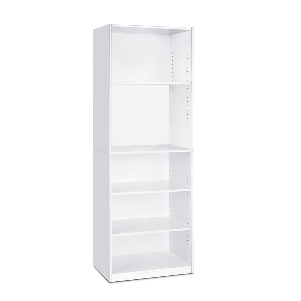 JAYA Simple Home 5-Shelf Bookcase, White