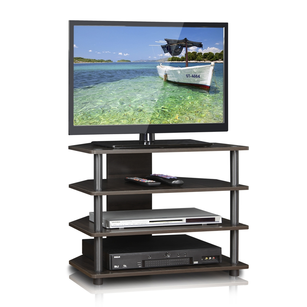 Turn n tube easy assembly 4 tier petite tv stand espresso for Petite table tv