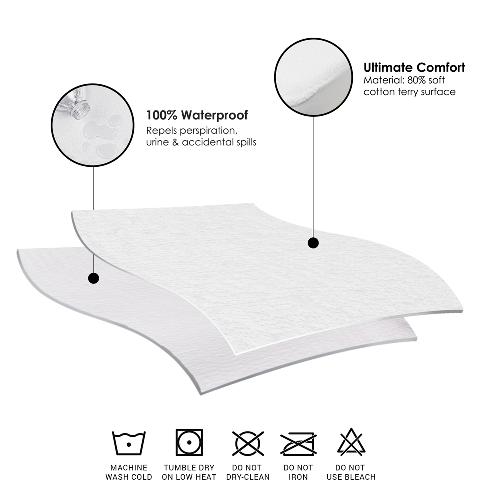 Angeland Terry Cloth Mattress Protector 100%Waterproof Hypoallergenic Vinyl Free, Twin. Picture 7