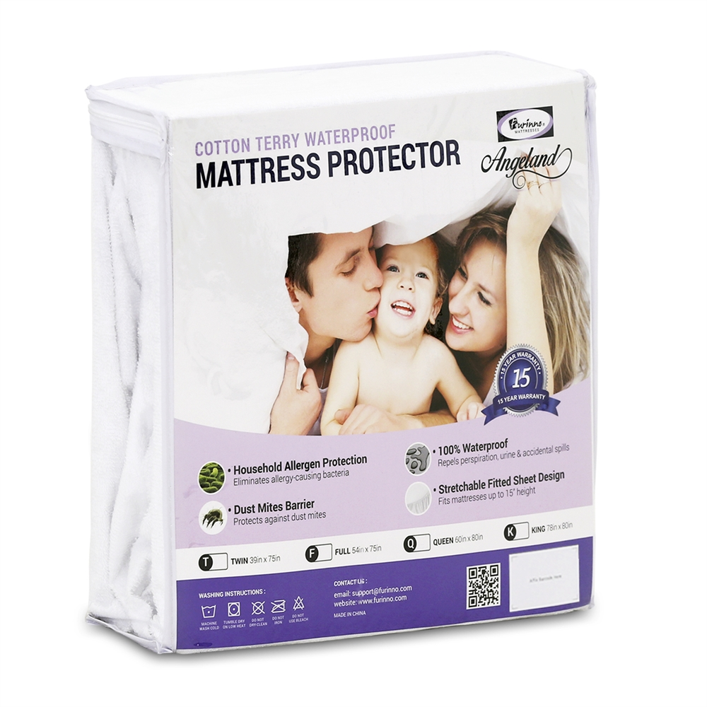 Angeland Terry Cloth Mattress Protector 100%Waterproof Hypoallergenic Vinyl Free, Full. Picture 1