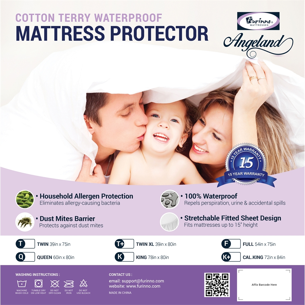 Angeland Terry Cloth Mattress Protector 100%Waterproof Hypoallergenic Vinyl Free, Full. Picture 2