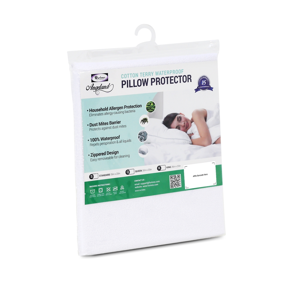 Angeland Terry Cloth Waterproof Pillow Protector, Standard. Picture 1
