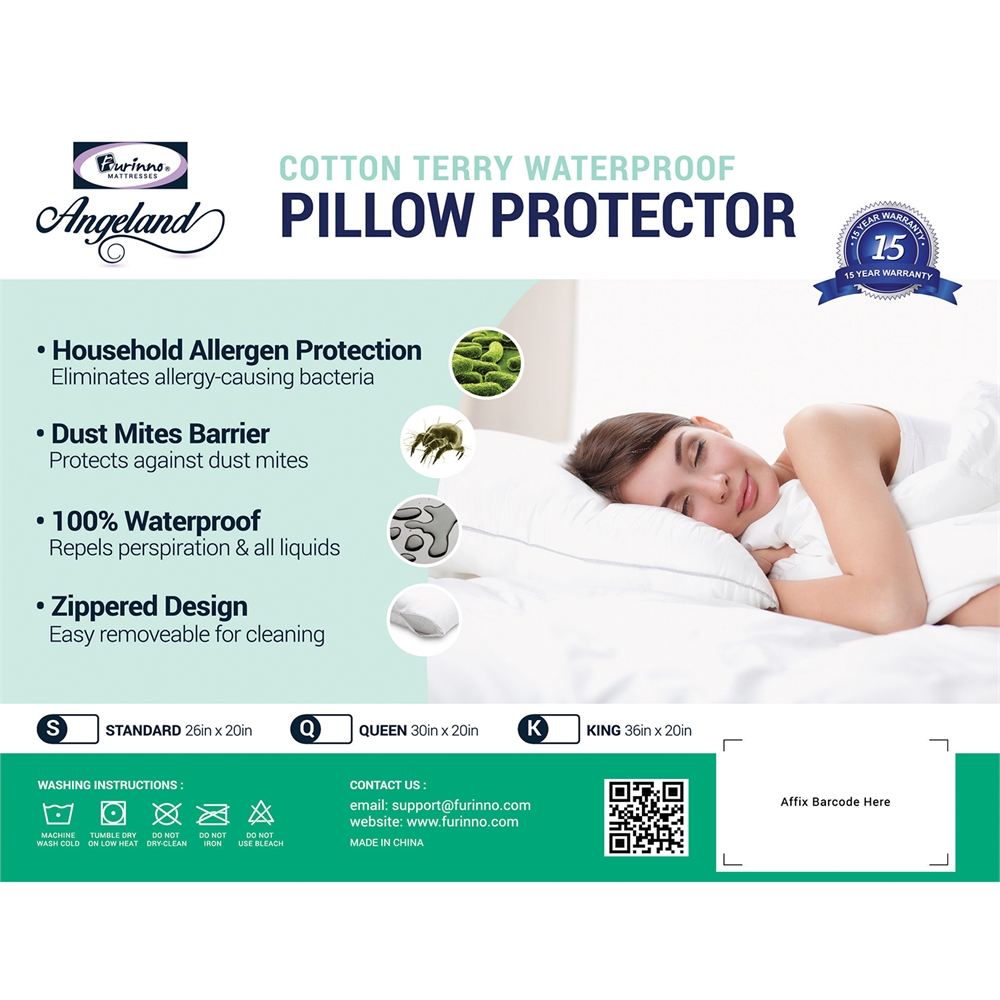 Angeland Terry Cloth Waterproof Pillow Protector, Standard. Picture 5
