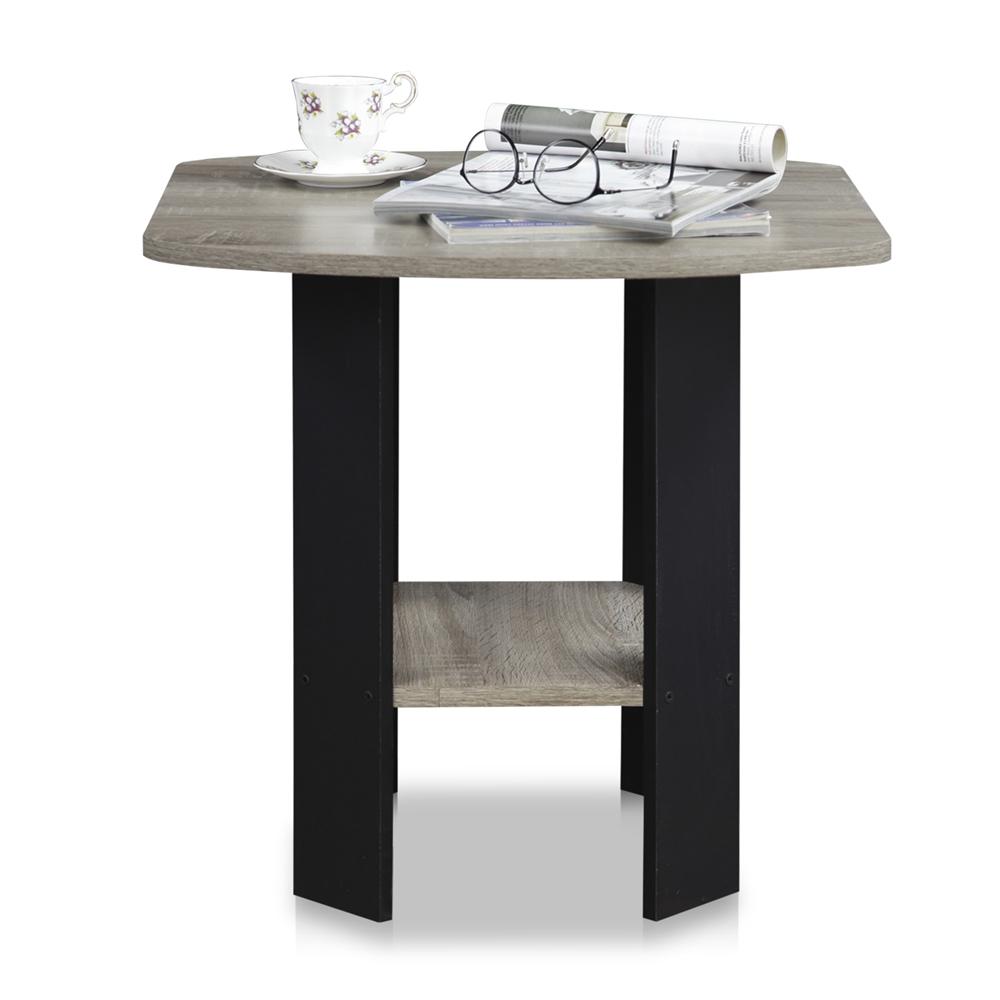 Simple Design End/Side Table, Oak Grey/Black. Picture 3